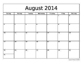 Editable 2014-2015 School Calendar