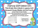 Editable 2014 Journeys Inspired First Grade Weekly Homework Unit 2, Lessons 6-10