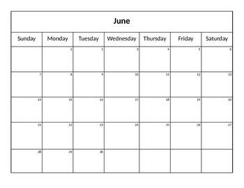 Editable 2015-2016 School Calendar Word Document