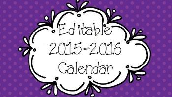 Editable 2015-2016 Calendar