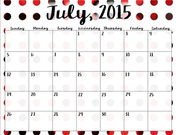 Editable 2015 - 2016 Polka Dot Calendar