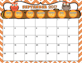 Editable Calendar 2017-2018 {Editable Owl and Stitched Chevron THEME}