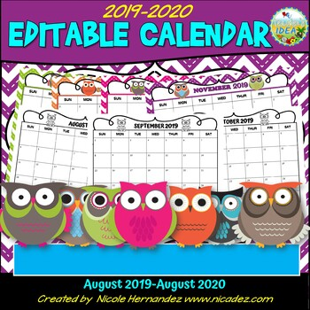 Editable Calendar 2019-2020 {Owl and Stitched Chevron THEME}