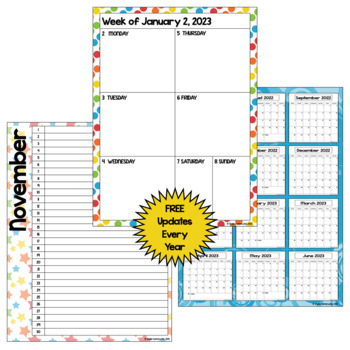Editable 2017-2018 Calendar & Planner (3 Versions) in Bright Colors