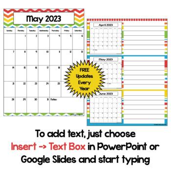 Editable Calendar 2017-2018 in Bright Colors