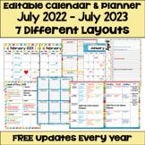 Editable Calendar 2018-2019 in Bright Colors