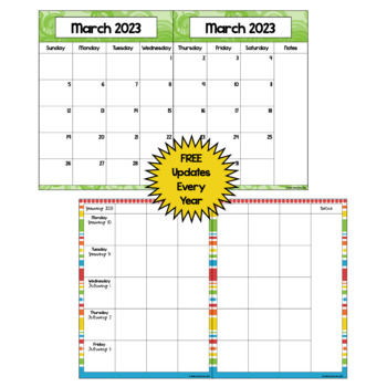 Editable Calendar 2018-2019 in Bright Colors with Automatic Updates