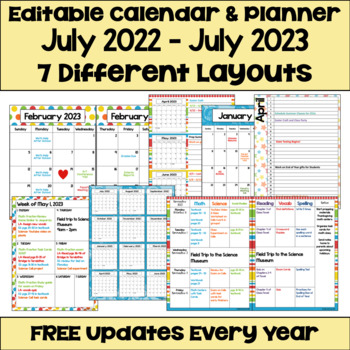 Free Fillable Calendar 2020 Editable Calendar 2019 2020 with FREE Updates in Bright Colors | TpT