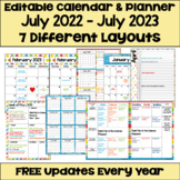Editable Calendar 2019-2020 with FREE Updates in Bright Colors