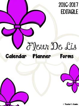 Teacher Binder Editable 2016-2017 Fleur De Lis Teacher Cal