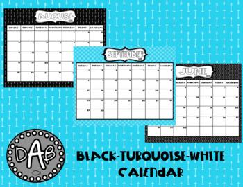 Editable 2017-18 Black, White & Turquoise Calendar