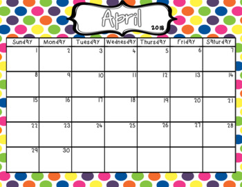 Editable 2017-18 Colorful Calendar