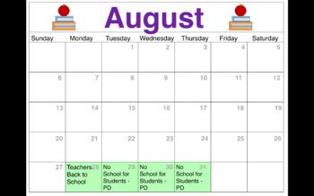 Editable Calendar 2017 18 Chicago Public Schools Schedule By Crazy 4