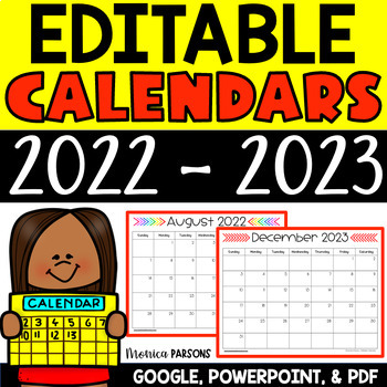 Editable 2017-2018 Calendars for PowerPoint AND Google Drive