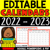 Editable 2018-2019 Calendars - PDF, PowerPoint AND Google Drive