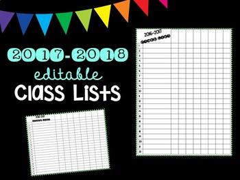 Editable 2018-2019 Class Lists