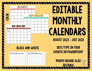 Editable 2017 - 2018 Monthly Calendar