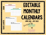 Editable 2018-2019 Monthly Calendar