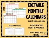 Editable 2019-2020 Monthly Calendar