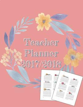Editable 2017-2018 Teacher Planner Floral