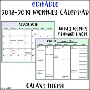 Editable 2018-2019 Monthly Calendar Galaxy Theme