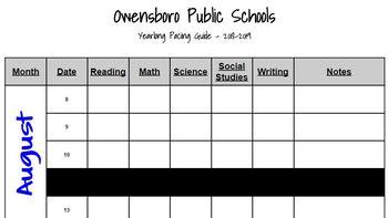 Editable 2018-2019 Yearlong Pacing Guide (Owensboro Public Schools)
