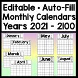 Editable Calendar 2019-2020 {81 Years!} {Editable Monthly Calendars 2019-2020}