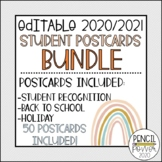 Editable 2020/2021 Student Postcard Bundle | Distance Learning
