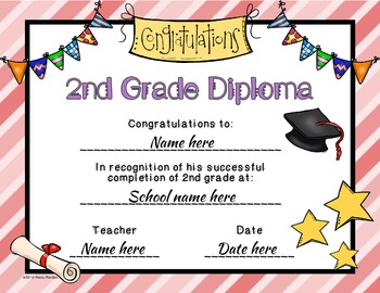 Editable 2nd Grade Graduation Diplomas