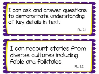 Editable 2nd Grade I Can Statements for Common Core Reading Cards