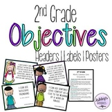 Editable 2nd Grade Objectives (Math and ELA) with Headers