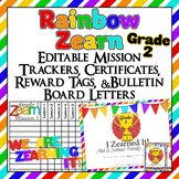 Editable!! 2nd Grade Zearn Trackers, Certificates, Bulletin Board, reward tags