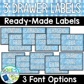 Editable Sterilite 3 Drawer Labels - Blue Watercolor Gingham