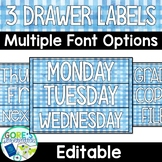 Editable Sterilite 3 Drawer Labels - Blue Watercolor Gingham