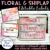 Editable 3 Drawer Sterilite Labels (Floral and Shiplap)