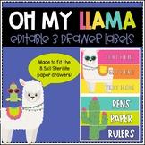 Editable 3 Drawer Sterilite Labels (Llama)