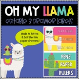 Editable 3 Drawer Sterilite Labels (Llama)
