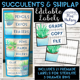 Editable 3 Drawer Sterilite Labels (Succulent and Shiplap)