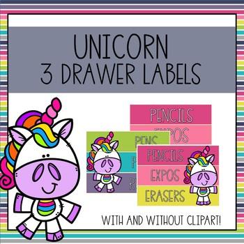 Editable 3 Drawer Sterilite Labels (Unicorn)