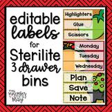 Editable 3 Drawer Sterilite Labels (taco / fiesta theme)