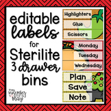 Editable 3 Drawer Sterilite Labels (taco / food theme)