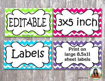 Editable 3 x 5 size labels Chevron style Cheery Colors