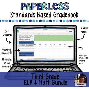 #TPTDIGITAL Paperless Digital Standards Based Gradebook - 3rd Grade BUNDLE