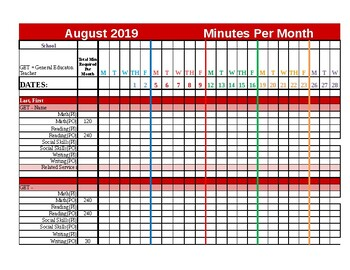 Editable 3rd Grade Data Tracker for SPED IEP Minutes