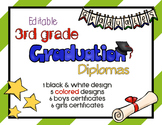 Editable 3rd Grade Graduation Diplomas