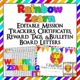 Editable!! 3rd Grade Zearn Trackers, Certificates, Bulletin Board, reward tags