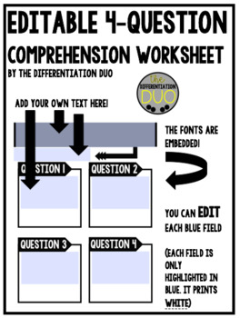 Editable 4-Question Comprehension Worksheet
