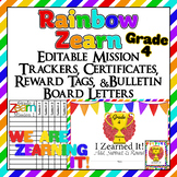 Editable!! 4th Grade Zearn Trackers, Certificates, Bulletin Board, reward tags