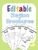 Editable 5 Regions of the United States Research Brochures and Rubric