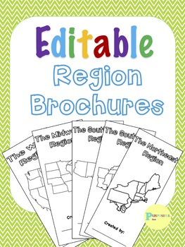 Editable 5 Regions of the United States Research Travel Brochures and Rubric